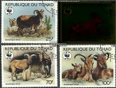 Chad 1171-1174 (complete.issue.) fine used / cancelled 1988 WWF-mane springer