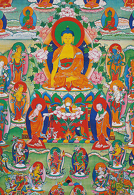 "26"" Blessed Tibetan Thangka Painting Poster:gautama Buddha & All Female Tara"