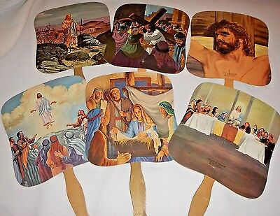 Vintage 6 Life of Jesus Church Hand Fans Advertising Menchey Music Hanover PA