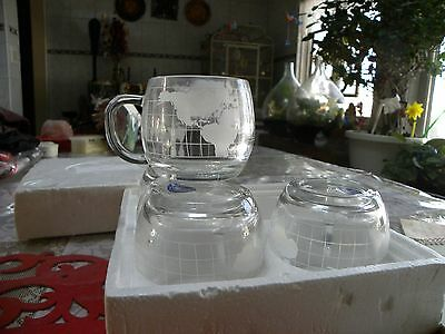 Nestle Vintage Etched Coffee Cups Set Of 4 World