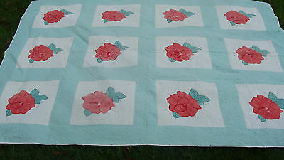 """1930s Rose applique all hand quilted quilt, 94"""" x 70"""" *"""