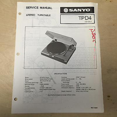 sanyo service manual for the tp 636 turntable repair 9 98 rh picclick com Sanyo M1 Sanyo M1