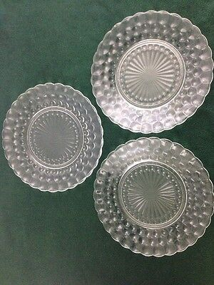 "3 Anchor Hocking Clear Glass Bubble 9 3/8"" Dinner Plates"