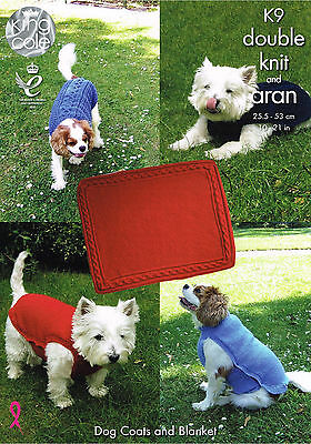 Knitting Pattern King Cole K9 DK & Aran Dog Coat & Blanket