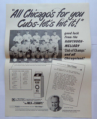 "Hawthorn-Mellody Farms Dairy Chicago Cubs ""Champ Milk"" Poster (1952) [16.5x22]"