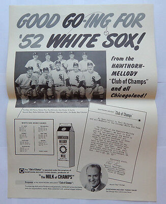 Hawthorn-Mellody Farms Dairy Chicago White Sox Poster (1952) [16.5x22]