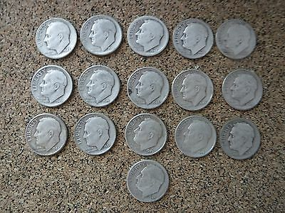 Mixed Lot of 16 US Silver Roosevelt Dimes - 1946, 1947, 1948 BUY NOW LOT