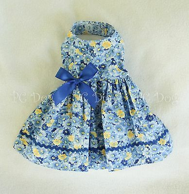 XS New Blue Flowered Dog Dress clothes pet apparel clothing  PC Dog®