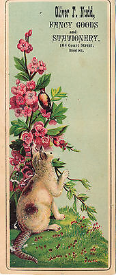 Vintage Cat Bookmark, Oliver F. Nudd, Fancy Goods and Stationery, Boston MA Adv.