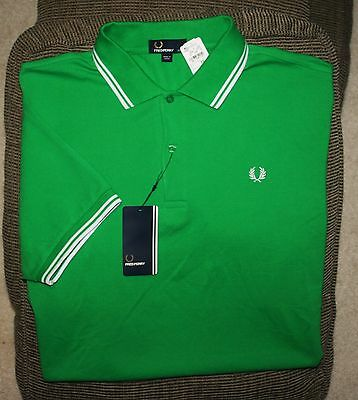 New Mens Fred Perry Short Sleeve S/S Polo Shirt Green XXL 2XL NWT
