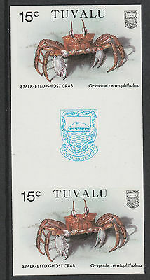 Tuvalu 3090 - 1986 CRABS  15c  IMPERF GUTTER PAIR unmounted