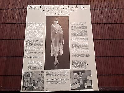1929 Ponds Cold Cream Advertising Mrs Cornelius Vanderbilt Jr AD