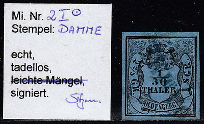 "Oldenburg: 1852, 1/30 Th. Ty. I   L1: "" DAMME "" Geprüft BPP  Mi.Nr.2 I   #281"