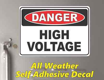 "DANGER High Voltage - OSHA Safety DECAL STICKER Sign 10"" x 14"""