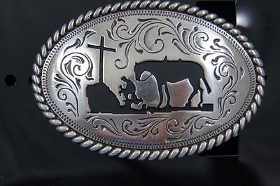 Nocona Cowboy Praying at the Cross Youth Belt Buckle M & F Western 37382