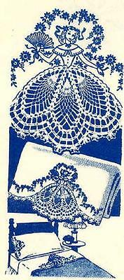 Sunbonnet Lady in Crinoline Crochet Skirts for Hand Embroidery Pillow Cases