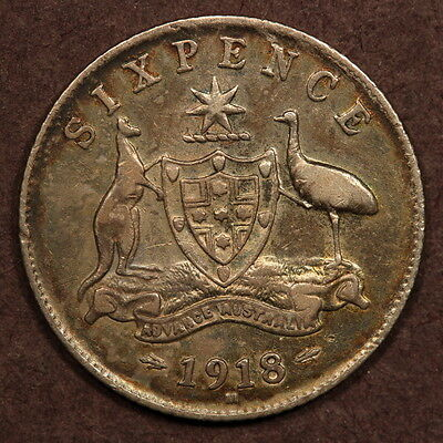 Australia Sixpence 1918-M Silver VF - 6 Dots on Crown