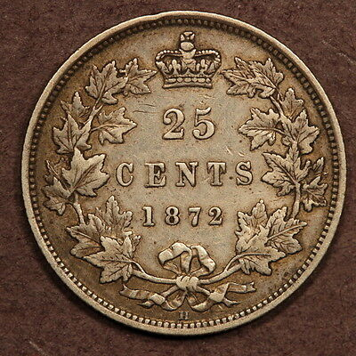 Canada 25 Cents 1872-H Silver VF