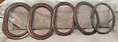 Antique Oval Wooden Picture Frames / Group Of 5 / No Glass