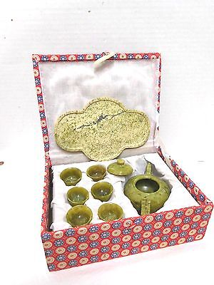Vintage Chinese Spinach Green Oriental Jade Mini teaset 9 pieces Original Box