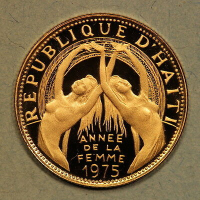 """Haiti 200 Gourdes 1975 """"Women's Year"""" Frosted Gold Proof - Mtg:840"""