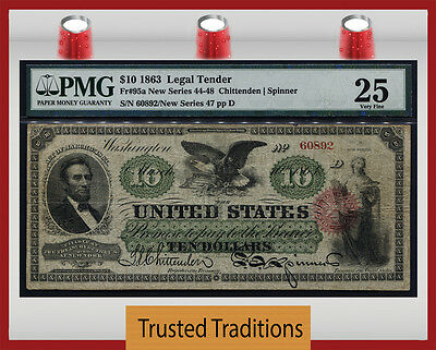 TT FR 95a 1863 $10 LEGAL TENDER SMALL RED SEAL SCARCE NOTE PMG 25 VERY FINE