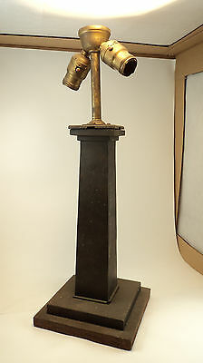 Antique Arts Crafts Mission Cast Iron Gas Converted Electric Lamp base