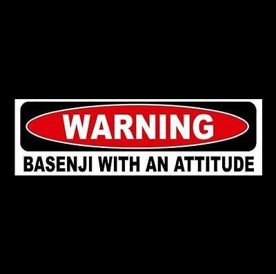 """WARNING: BASENJI WITH AN ATTITUDE"" window decal BUMPER STICKER breed sign puppy"