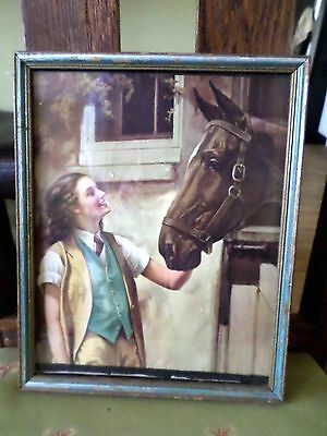 Beautiful Vintage Print~Girl with Horse~ In The Original Frame