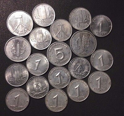 Old East Germany/DDR Coin Lot - 1948-1968 - MANY AU - 19 Coins - #M21