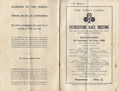 THE EIGHT CLUBS SIVERSTONE RACE MEETING PROGRAMME, SAT.3rd.JUNE.1950.