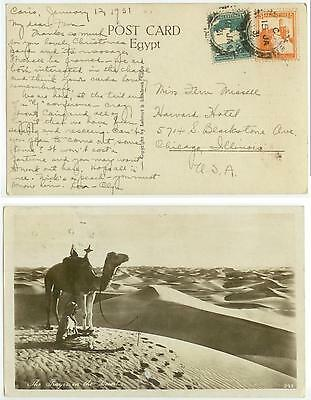1931 Jerusalem Palestine Real Photo of Desert to Chicago - cover