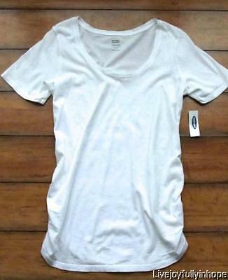 OLD NAVY MATERNITY ~ New! NWT Small ~ White Scoop-Neck Cotton Tee Shirt
