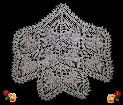 Vintage Hand Crochet Lace Pineapple Doily Antimacassar Chair Back Scallop