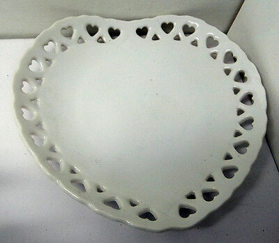 vintage kitchen decorative plate heart  reticulated heart edge 6 inches