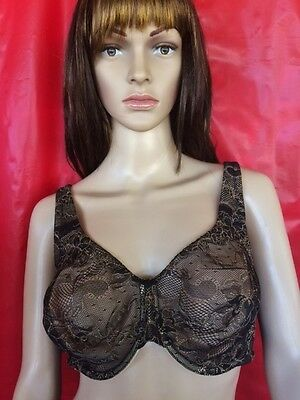 Cacique Black Lace Full Coverage Underwire Bra Sz 42 C