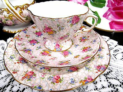 Hammersley Tea Cup And Saucer Floral Chintz Pattern Pink Teacup Trio