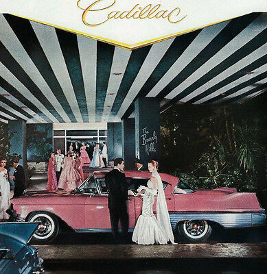Car Automobile Ad ~ 1957 Pink CADILLAC 4-door sedan at the Beverly Hills Hotel