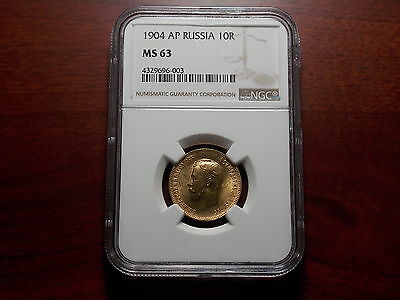 1904 Russia 10 Rouble Gold coin NGC MS-63