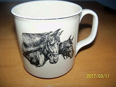 vintage horses coffee mug made in japan small world greetings