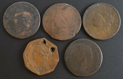 Group of Five Large Cents Low Grade