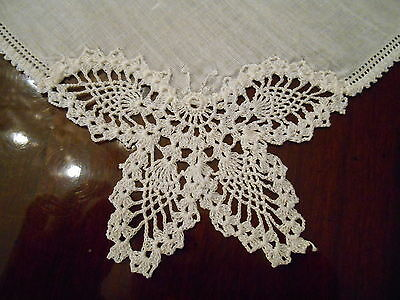 Vintage Hand Crocheted Lace BUTTERFLY Linen Handkerchief Wedding Bride