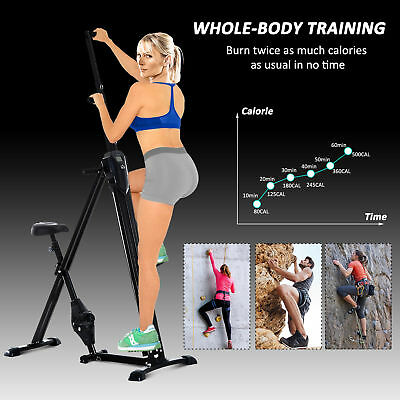 HOMCOM 2 In 1 Vertical Climber Climbing Stepper Cardio Exercise Bike Gym Machine