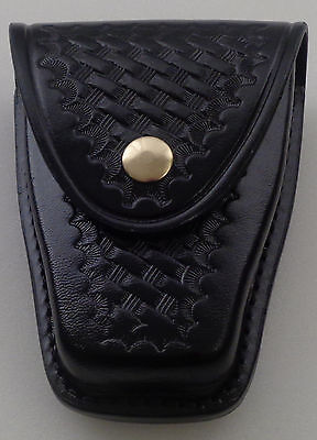 "Basketweave Brass Single Standard Leather Handcuff Cuff Case Closed ""Y"" Black"
