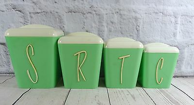 Set of 4 Vintage Gay Ware Green Kitchen Canisters / Containers Retro