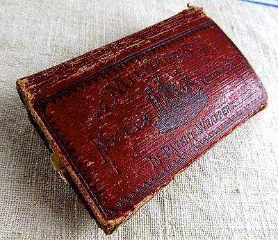 Antique Milward's Helix Sewing Needles Red Leather Case w/ John English Needles