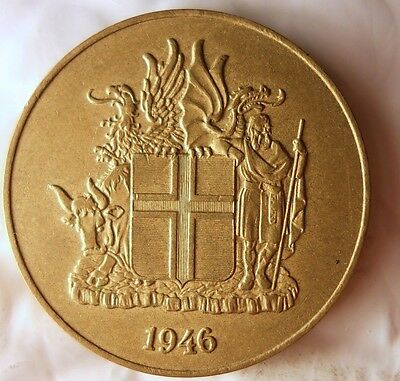 1946 ICELAND 2 KRONUR - Excellent Condition - FREE SHIPPING - Iceland Bin #1