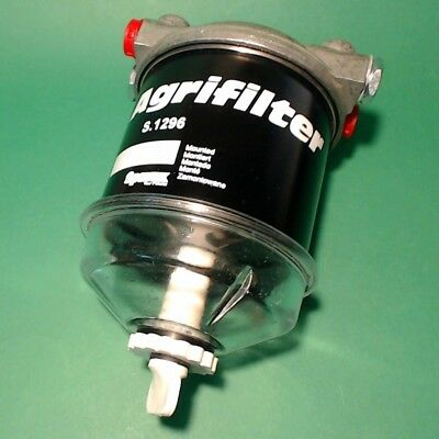 FFK1296 Single CAV 296 Style Diesel Fuel Filter Assy with Glass Bowl 1/2in Ports