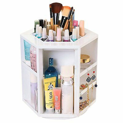 Discoball 360 Degree Cosmetic Makeup Organizer White Small Display Spinning Rack