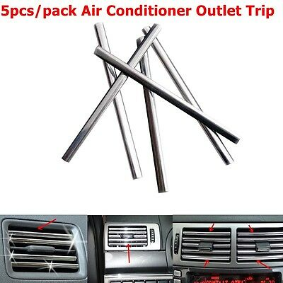 5pc Chrome Silver Strip For Car Interior Air Conditioner Outlet Vent Grille Trim